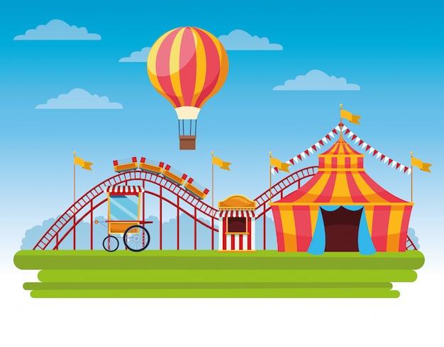 Desenho de paisagem festival de circo justo Vetor grátis