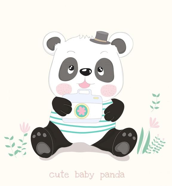 Desenho de panda pequeno bonito com câmera Vetor Premium