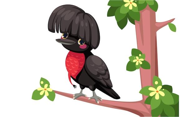 Desenho de pássaro de guarda-chuva Vetor Premium