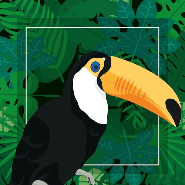 Desenho de pássaro exótico Vetor Premium