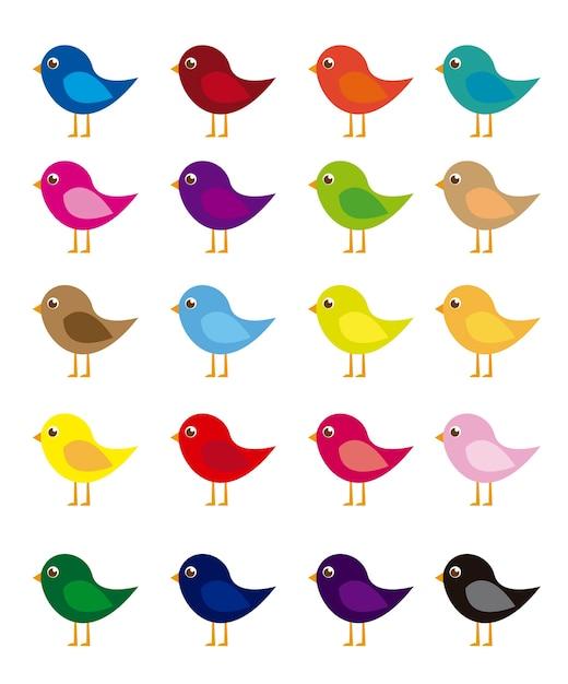 Desenho de pássaros coloridos isolado sobre o vetor de fundo ...