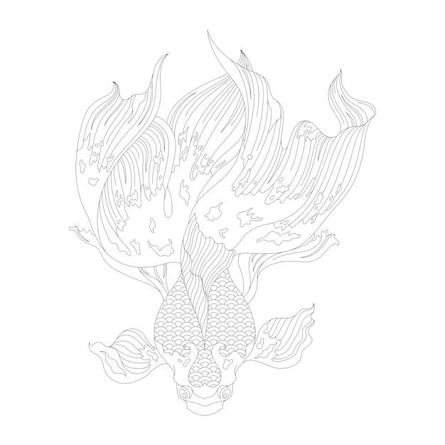 Desenho de peixe dourado japonês para colorir Vetor grátis