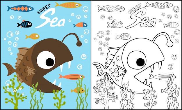 Desenho De Peixe Pescador Caca Peixinho Vetor Premium