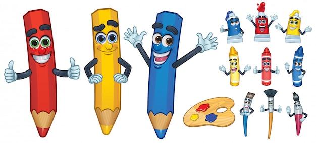 Desenho de personagem de desenho animado e ferramenta de pintura Vetor Premium