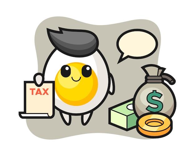 Desenho de personagem de ovo cozido como contador Vetor Premium