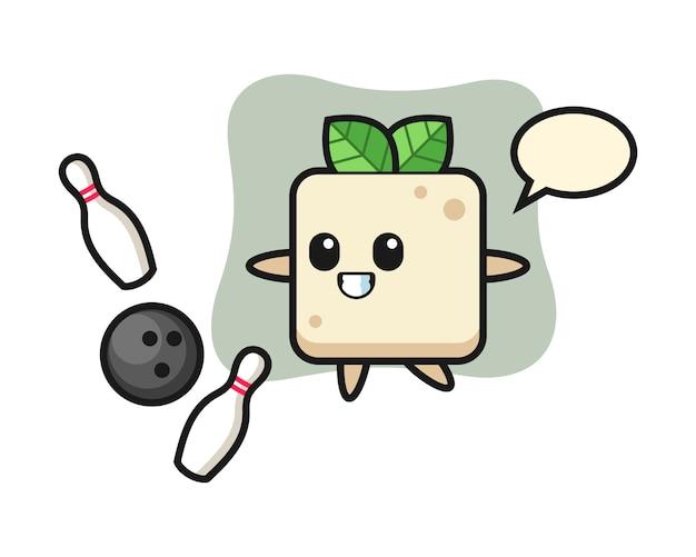 Desenho de personagem de tofu está jogando boliche, design de estilo bonito para camiseta Vetor Premium