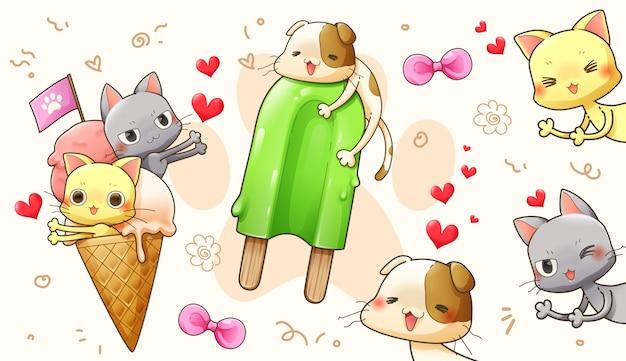Desenho de personagem dos desenhos animados de gato bonito no amor - vector Vetor Premium
