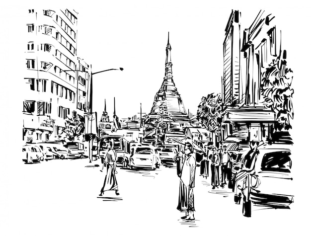 Desenho de pessoas caminhando na rua ao redor do pagode em desenho à mão de yangon Vetor Premium