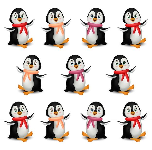 Desenho De Pinguins Felizes Vetor De Desenhos Animados Isolado No