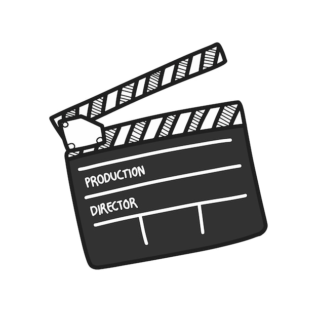 Desenho de placa de badalo de filme em branco, símbolo de produção do filme. Vetor Premium