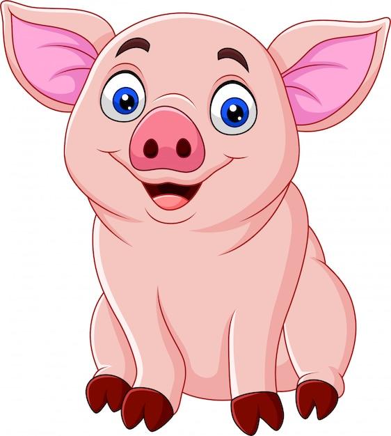 Desenho de porco bonito Vetor Premium