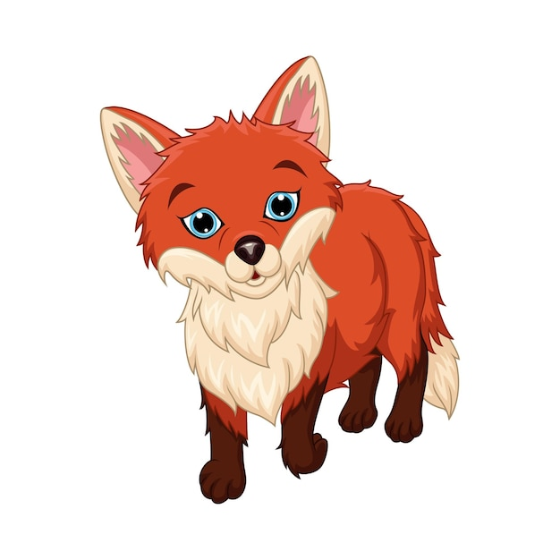 Desenho de raposa bonitinho em fundo branco Vetor Premium