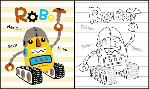 Desenho de robô engraçado Vetor Premium