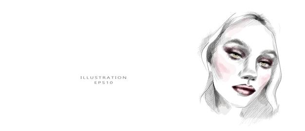 Desenho de rosto de uma jovem bonita desenhada à mão Vetor Premium