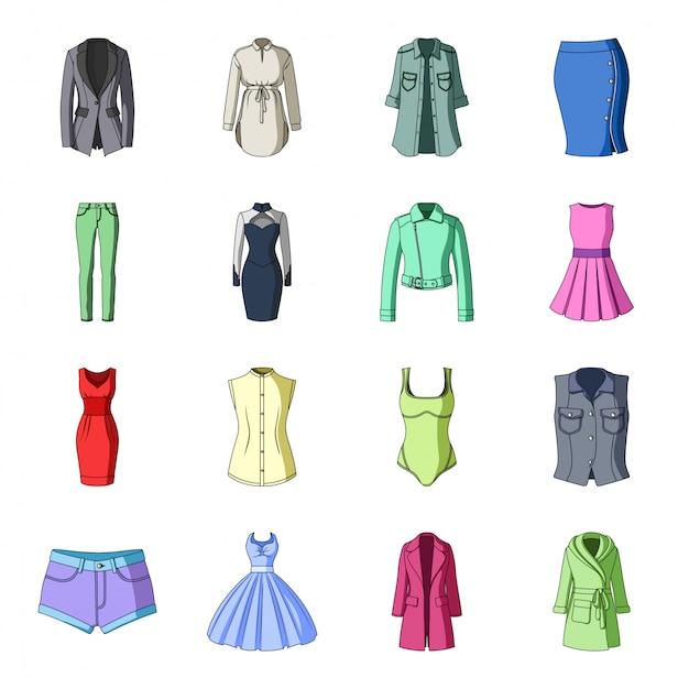 Desenho de roupas da moda definir ícone. acessórios de ilustração. desenhos animados isolados definir roupas da moda ícone. Vetor Premium