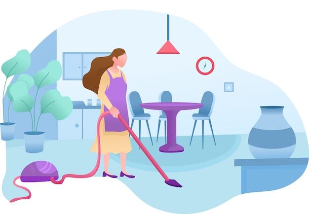 Desenho de serviço de limpeza doméstica Vetor Premium