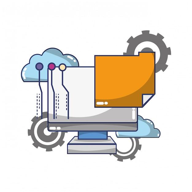 Desenho de suporte de computação de tecnologia Vetor Premium