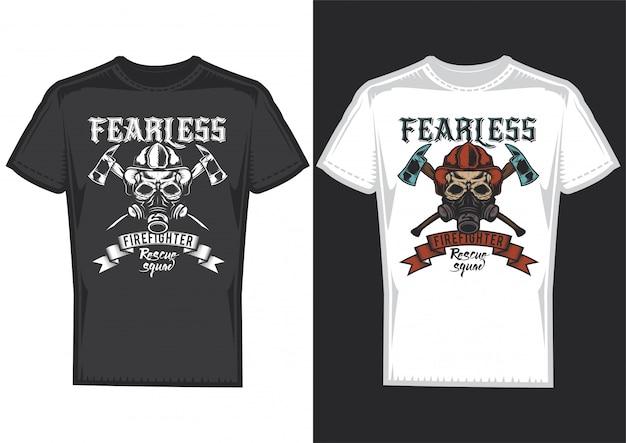 Desenho de t-shirt em 2 t-shirts com cartazes de bombeiros com fitas e machados. Vetor grátis