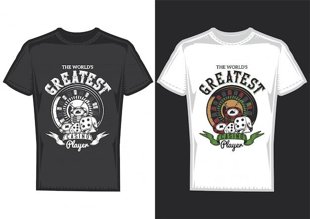 Desenho de t-shirt em 2 t-shirts com cartazes de elementos de casino: cartas, fichas e roleta. Vetor grátis