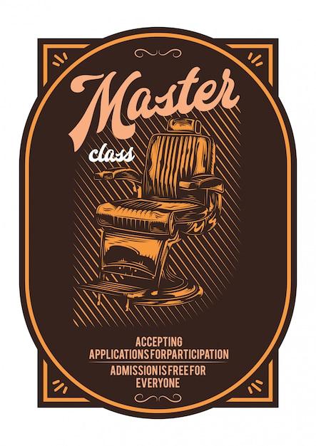 Desenho de t-shirt ou cartaz com ilustração de cadeira de barbeiro. Vetor grátis