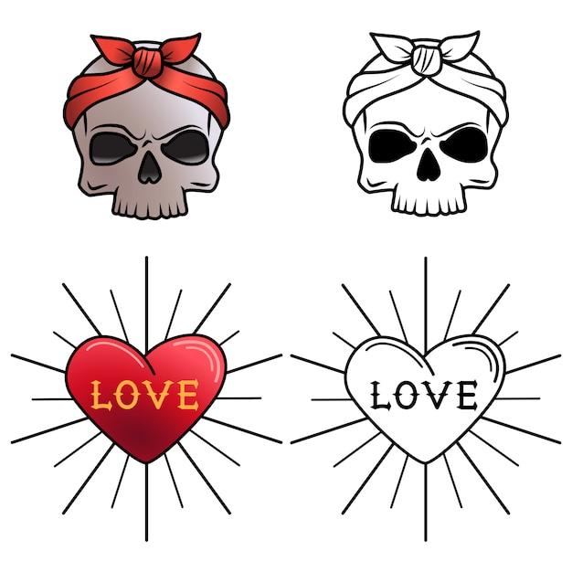 Desenho De Tatuagem De Caveira E Coracao Para Colorir Vetor Premium