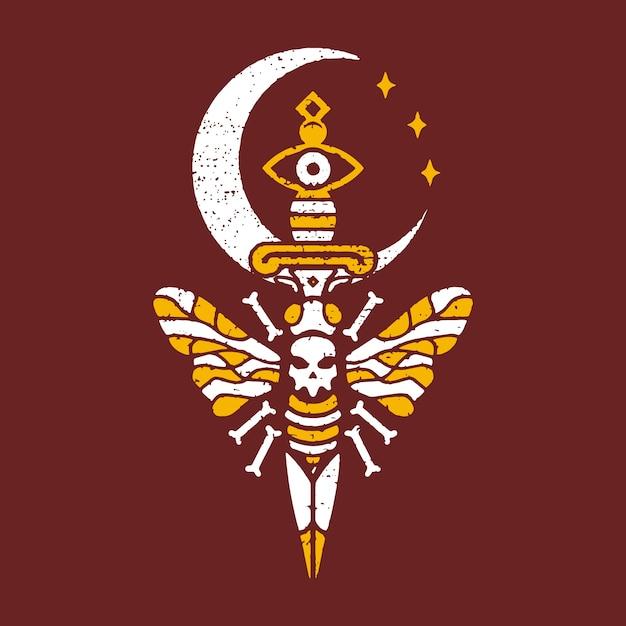Desenho de tatuagem de lua de abelha mortal Vetor Premium