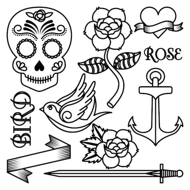 Desenho de tatuagem de rosas Vetor Premium