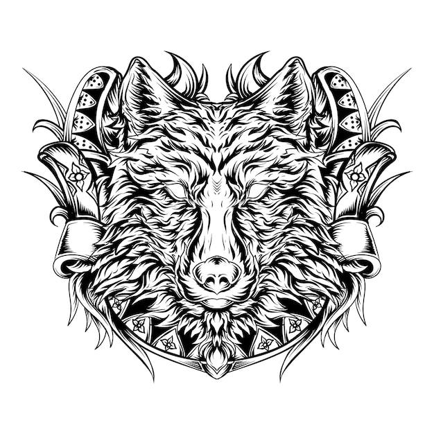 Desenho de tatuagem e camiseta preto e branco ilustração desenhada à mão cabeça de lobo ornamento de gravura Vetor Premium