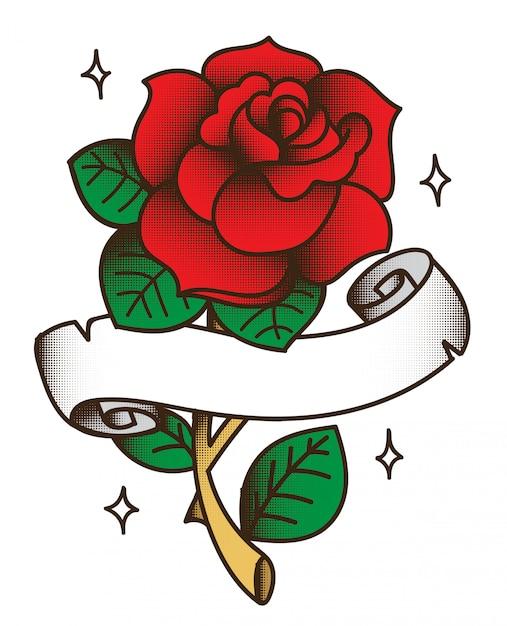 Desenho De Tatuagem Rosa Vetor Premium