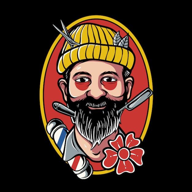 Desenho de tatuagem traditonal de barbeiro usando chapéu de gorro Vetor Premium