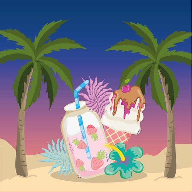 Desenho de tema de cenário de praia tropical Vetor Premium