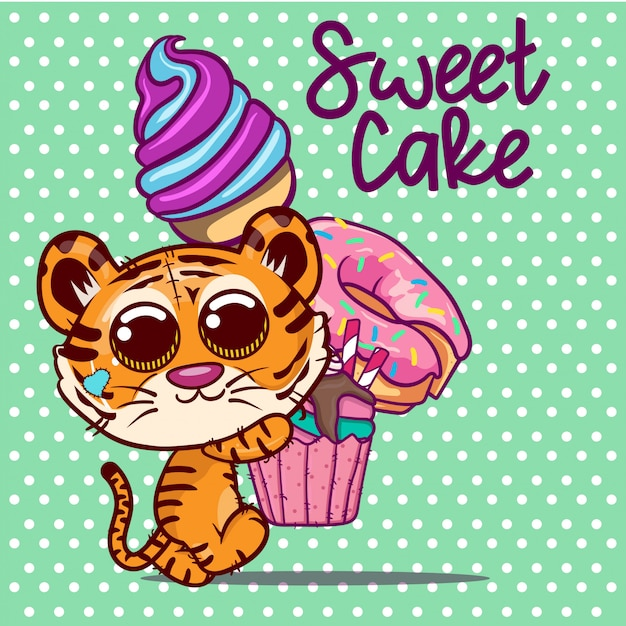Desenho de tigre bonito com bolo doce e sorvete. vetor Vetor Premium