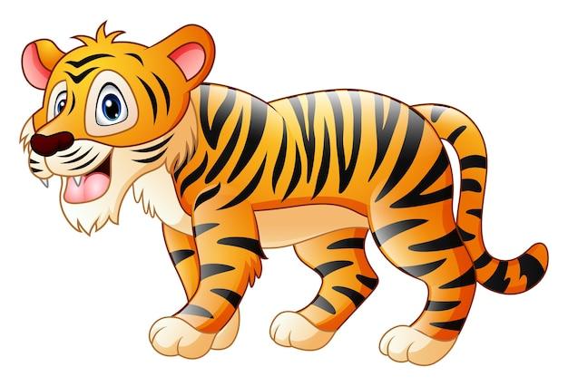 Desenho de tigre bonito Vetor Premium
