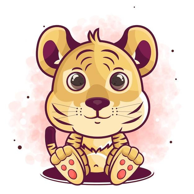 Desenho de tigre fofo desenho sentado à mão Vetor Premium