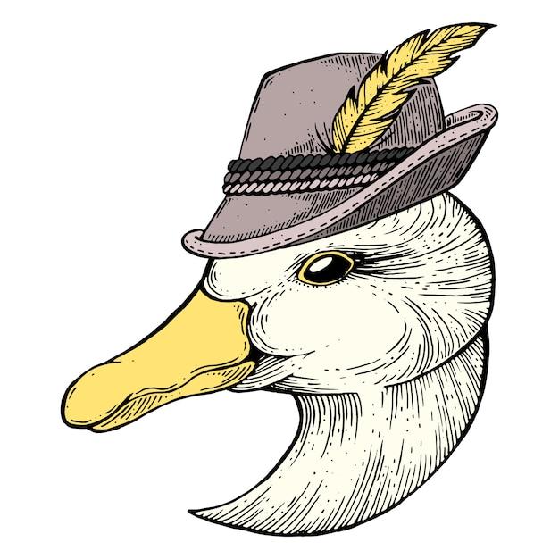 Desenho de tinta de ganso Vetor Premium