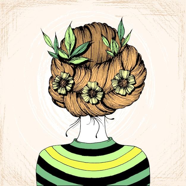 Desenho de tinta de penteado Vetor Premium