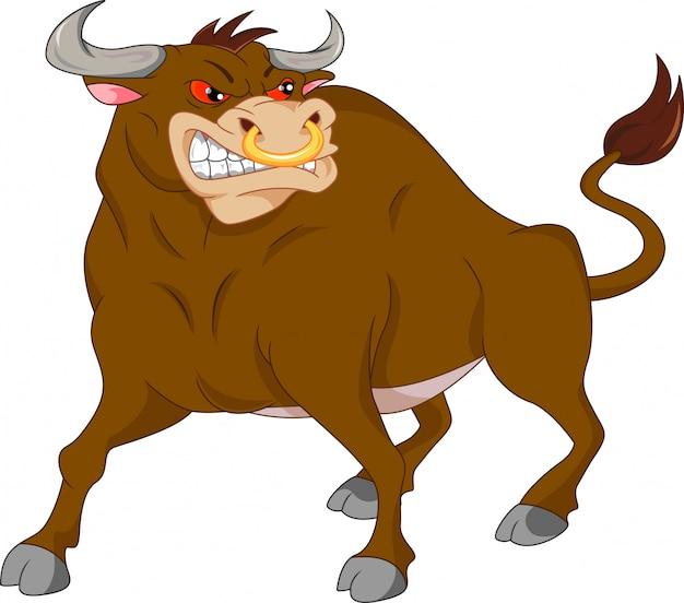 Desenho de touro bravo Vetor Premium