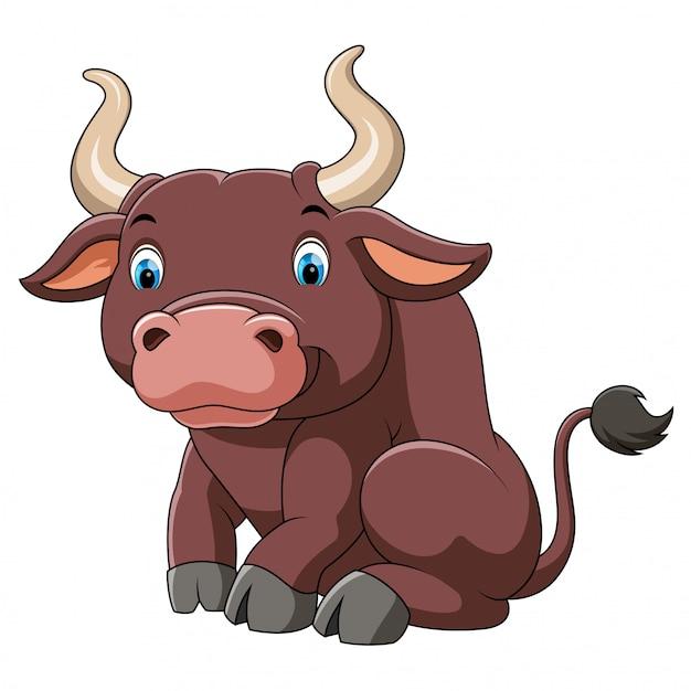 Desenho de touro grande bonito Vetor Premium