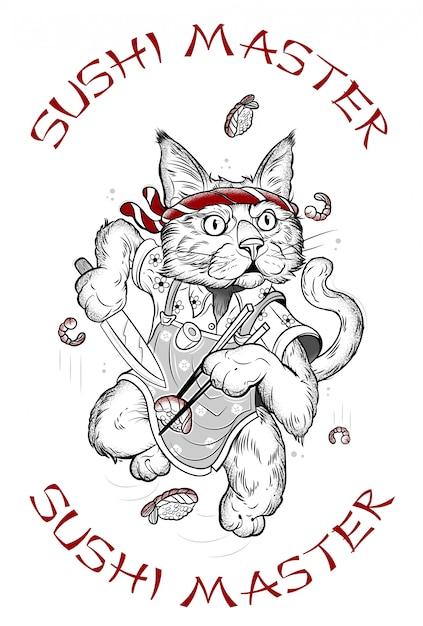 Desenho de um gato que faz sushi Vetor Premium