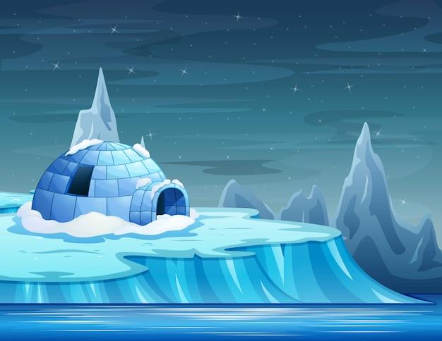 Desenho de um iceberg com um iglu Vetor Premium
