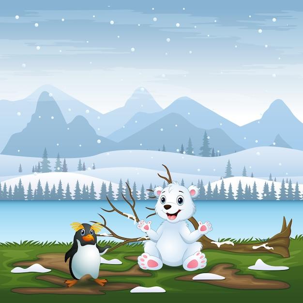 Desenho de um urso polar e um pinguim na ilustração do campo de neve Vetor Premium