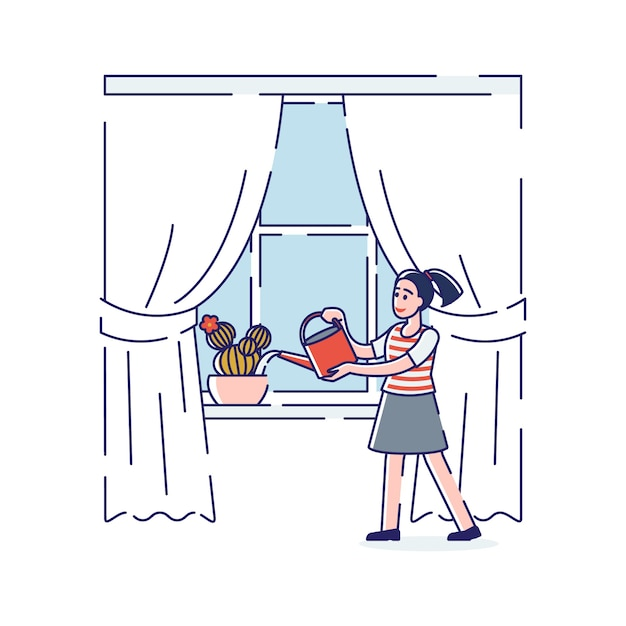 Desenho de uma garota aquática no parapeito da janela com um regador Vetor Premium
