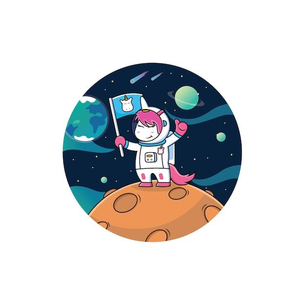 Desenho de unicórnio de astronauta Vetor Premium