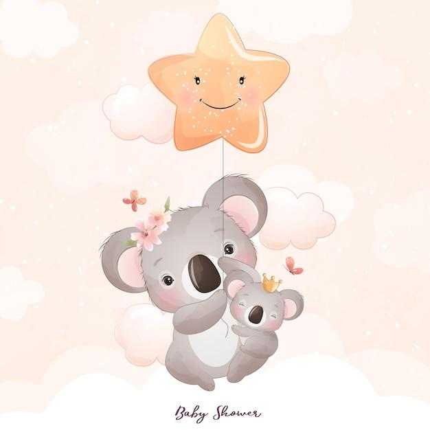 Desenho de urso coala fofo com ilustração floral Vetor Premium