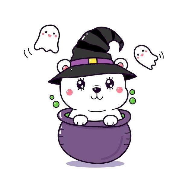 Desenho de urso polar bonito em um pote de bruxa para o dia de halloween. Vetor Premium