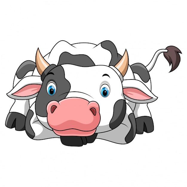 Desenho de vaca feliz Vetor Premium