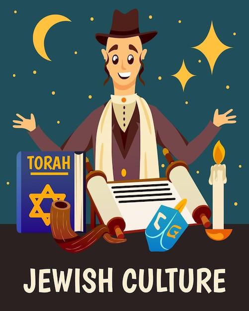 Desenho de vela e símbolos do livro da torá do personagem judeu Vetor grátis