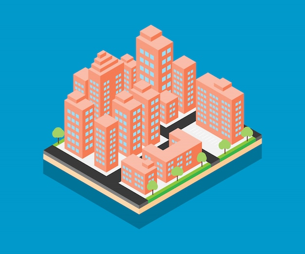 Desenho de vetor cidade isométrica no fundo azul Vetor Premium
