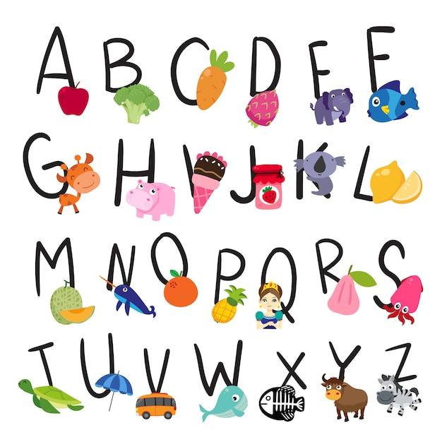 Desenho de vetor de alfabeto para criança Vetor Premium