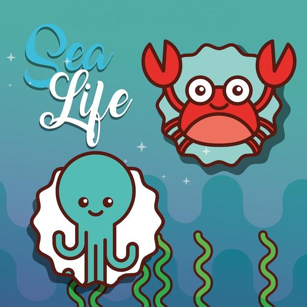 Desenho de vida do mar Vetor Premium